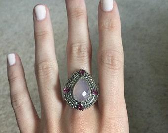 Purple Amethyst Ring with Garnet Stone