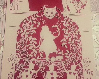 Painting the Roses Red - Alice in Wonderland inspired -  Papercut Framed, fairy tale, alice, gift, papercutting, queen,