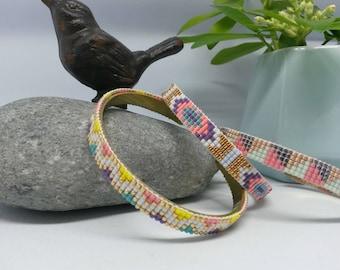 Beadwoven Bangle Bracelet, pattern choice