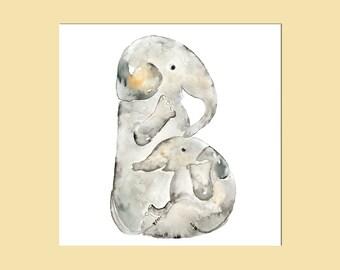 Elephant nursery art, gift for baby, for new mom, Baby initial print, Nursery wall Art, Baby boy Nursery, Elephant Nursery Print, Letter Art