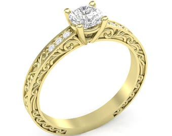 Yellow Gold Engagement Ring Vintage Ring Filigree Shank .06 ct Diamonds Semi Mount for Round Center Brand New 14K Setting Only or Moissanite