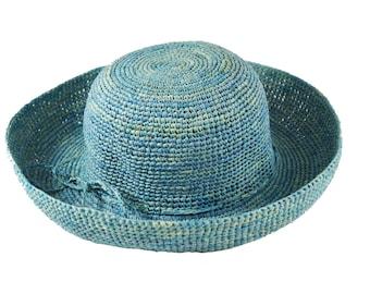 SALE 50% OFF , Raffia hat for women , Straw Hat , Women summer hats , Straw hat , Sun hat , Beach hat , Blue hat , Hats for women