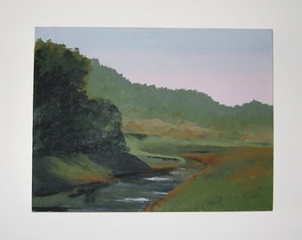 River Bend Forest at Dawn En Plein Art Earth Tones Canvas Painting