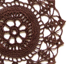 Brown hand dyed Crochet Vintage Doily doily