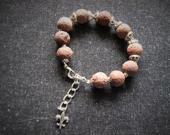 Bracelet for women, volcanic rock and metal