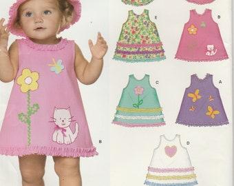 Infant Girls Dress Applique Flower Kitty Summer Hat Girls Size NB - S - M - L Uncut New Look 6692 EASY