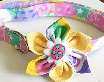 Pink and Yellow Easter Egg Collar with Matching Flower  for Girl Dogs and Cats