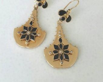 14k victorian earrings   14k onyx seed pearl earrings
