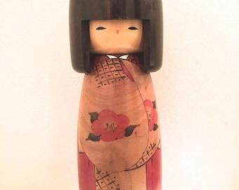 Japanese Kokeshi Wooden doll, Large Kokeshi doll. 10'' Tall/ Usaburo Kokeshi