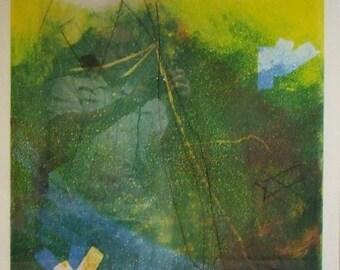 Original abstract silkscreen print Norma Silverton English Jewish artist framed serigraph modern contemporary art Worldwide shipping