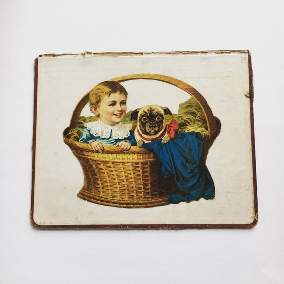 "Antique Print of Dog and Toddler ""Boon Companions"" The Great Atlantic & Pacific Tea Company Circa 1885"