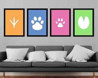Animal Footprints Block Colour Cat Dog Chicken Horse