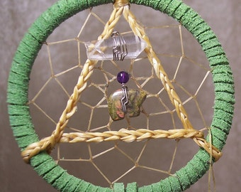 SERENITY BEAR - 3 Inch Dreamcatcher in Lime Green and Purple by Feathered Dreams