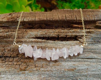 Rose Quartz Chip Curved Bar Necklace Gemstone Gold Filled Wire Wrap Pink Crystal Stone Cable Chain Free Shipping Jewelry