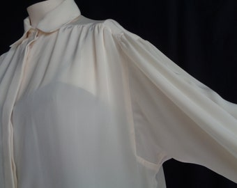 Vintage blouse XL cream collar long sleeves