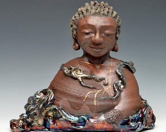 African Buddha in the Shimmering Clouds With Lightning Calm Peaceful Gaze Raku Ceramics