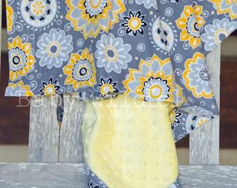 Minky Baby Blanket Saffron and Gray Flower Burst Personalized - Multiple Sizes - Name Available - Sunburst