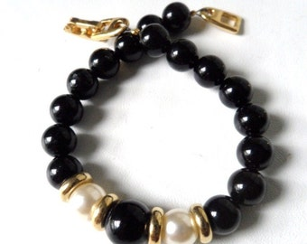 Napier Faux Pearl Gold and Black Lucite Beaded Memory Wire Goldtone Bracelet