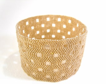 Bronze Bangle: Seed Bead Cuff, Beaded Bracelet, Beadwoven Jewelry UK Seller