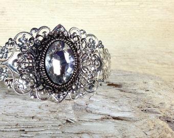 Cuff bracelet, Vintage silver Cuff Braceletand with center crystal