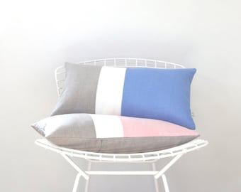 2016 Pantone Colorblock Pillow Covers - Rose Quartz and Serenity with Cream and Natural Linen by JillianReneDecor, Decorative Pillows SS2016