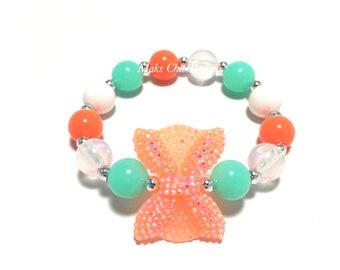 Toddler or Girls Small Beaded Neon Orange Bow Bracelet - Orange, Aqua Green and White Bracelet - Under the Sea Bracelet - Neon Bracelet