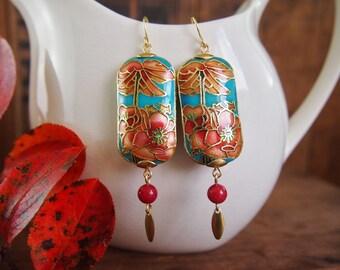 Art Nouveau Earrings Dangle Earrings Statement Earrings Flower Earrings Enamel Poppy Earrings Cloisonne Flapper Miss Fisher Mucha Orange E65
