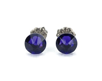 Titanium Stud Earrings Purple Velvet Swarovski Crystal on Titanium Posts for Sensitive Ears, Hypo Allergenic Titanium Jewelry