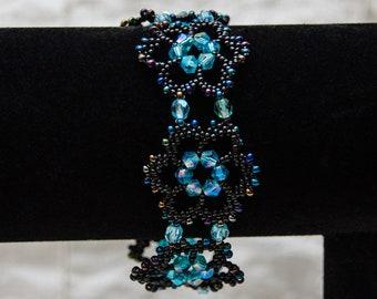 Crystal Lace Flower Bracelet in Black and Aqua