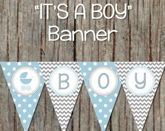 Baby Boy Shower Printables It's a Boy Baby Shower Banner Powder Blue Grey Baby Carriage Stroller INSTANT DOWNLOAD DIY 100