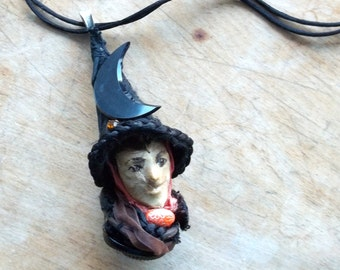 Upcycled Assemblage  Pendant necklace,Witch Art Doll head OOAK ,mixed media Antique Glass Moon,Sweet Smile,Designer  jul ann
