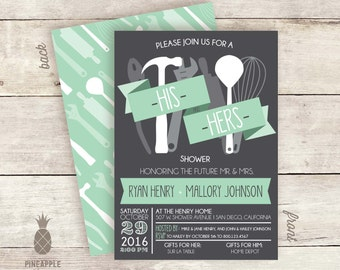 His & Hers Couples Shower Invitations - Colors Shown: Charcoal, Mint and White