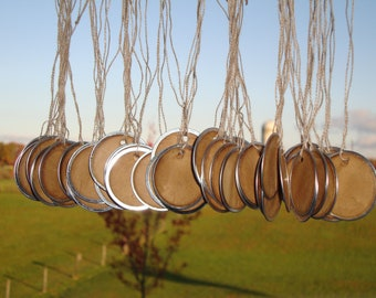 """100 Stained Metal Rim Hang Tags, sized 1 9/16"""", Vintage tags, Antique tags, Primitive tags"""