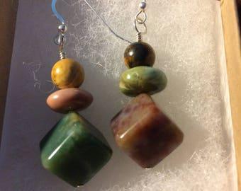Stacking Stones Zen Garden Sterling & Stone Earrings - OOAK by Robin Foster, FosterFire