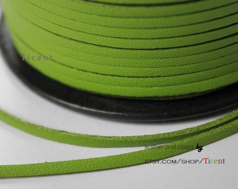 10 Yards 3mm Patent Faux Suede Leather, Green Coated Suede Leather CS3M157