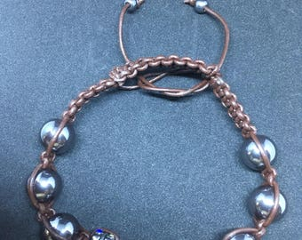 Leather mixed shamballa bracelet.