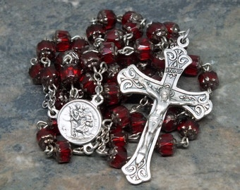 Czech Glass Rosary of Ruby/Siam Cathedral Beads, St. Christopher Rosary, 5 Decade Rosary, Catholic Rosary