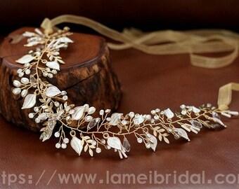 Heavy beaded Gold leaves Bridal hair vine. Gold wedding hair Halo, Boho wedding Bridal Hair Vine, Bridal Headpiece, Bridal leaf Headband