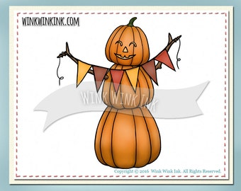 Digital Stamp -  Pumpkin Person - Fall digi with banner plus words