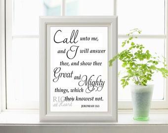 INSTANT DOWNLOAD 8x10 Jeremiah 33:3 Bible verse print