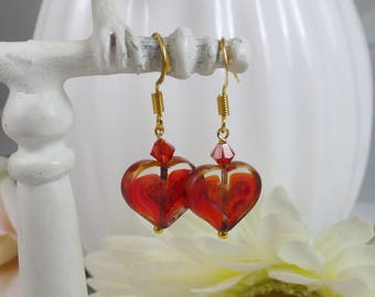 Red Heart Earrings Carved Coins Gifts for Her