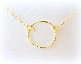 Mother Day Sale - Gold Circle necklace - Gold necklace - Karma circle necklace - Hoop necklace, 14k gold filled necklace - Eternity necklace
