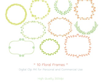 10 Floral Frames - Digital Clip Art - High Quality 300dpi - Personal and Commercial Use