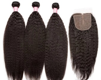 Kinky Straight Closure, Natural Hair, Afro Hair, Weave, Extensions, Human Hair Extensions