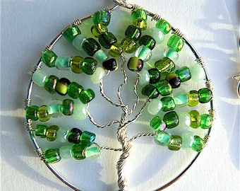 Tree of life pendant necklace, forest greens glass beads on snake chain.
