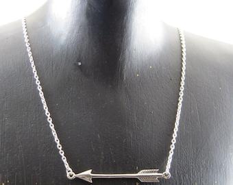 Sideways arrow necklace, Sterling silver arrow necklace, Arrow necklace, Phi Beta Phi necklace, archery necklace, Southwestern