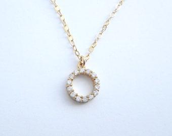 Gold necklace, gold necklace,cz pendant, dainty gold necklace, Cubic zircon necklace, karma necklace, diamond - A140