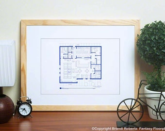 Seinfeld Apartments Floor Plans and MONKS DINER  - 5 Posters - Apartments of Elaine Benes, George Costanza, Cosmo Kramer , Jerry, MONKS Cafe