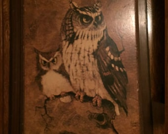Vintage OWL PICTURE Wooden Owls Birds Gifts Thanksgiving autumn rustic fall home cabin decor brown 70s seventies Richard Screech signed art