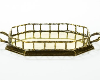 Vintage Bamboo Brass Tray | Hollywood Regency | Mid Century | Asian Style Handled Serving Platter